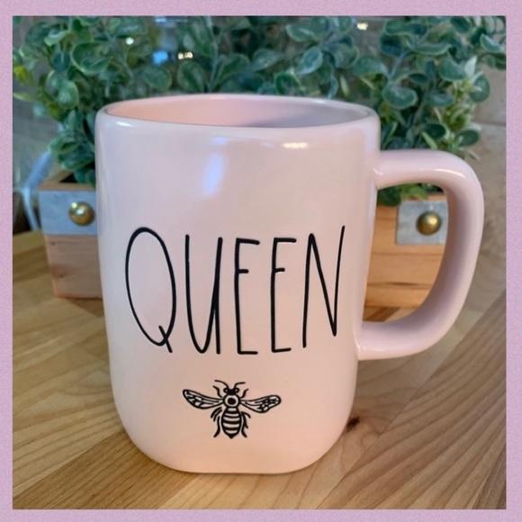 "RAE DUNN PINK ""QUEEN"" LL WITH A BEE CERAMIC MUG"